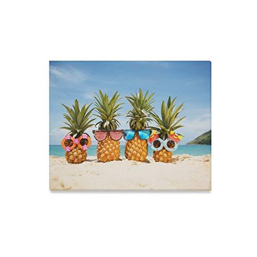 JIUCHUAN Wandkunst Malerei Familie Lustige Attraktive Ananas Stilvolle Sonnenbrille Drucke Auf Leinwand Das Bild Landschaft Bilder Öl Für Zuhause Moderne Dekoration Druck Dekor Für Wohnzimmer