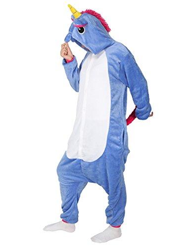 Tier Karton Kostüm Einhorn PyjamaTierkostüme Jumpsuit Erwachsene Schlafanzug Unisex Cosplay (L(Höhe162-175CM), Dunkelblau (Einhorn Für Pferd Kostüm)