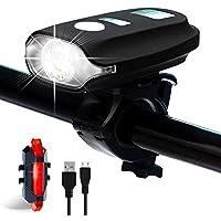 Metaku Bike Lights Rechargeable Bike Light Set LED Bicycle Lights Front and Rear USB 4 Modes 350 Lumens 1200mAh Waterproof Mountain Cycle Lights Smart Sensor Cycling Headlight Taillight Combinations