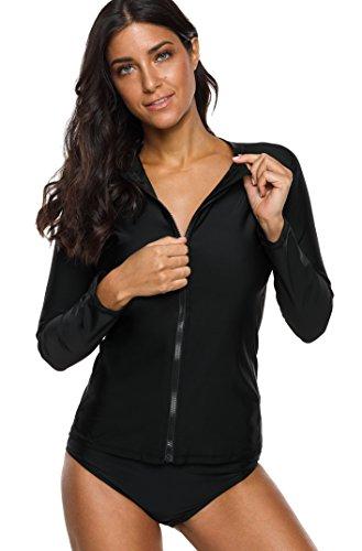 Charmo Damen Rash Guard UV-Schutz (UPF 50+) mit Reißverschluss Rash Vest Sonnen Schutz Solid Schwarz XL -