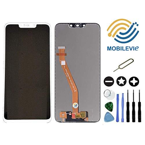 Mobilevie Touchscreen + LCD Bildschirm Original Darlehen-A-Mount für Huawei Mate 20 Lite Weiß+ Werkzeug -