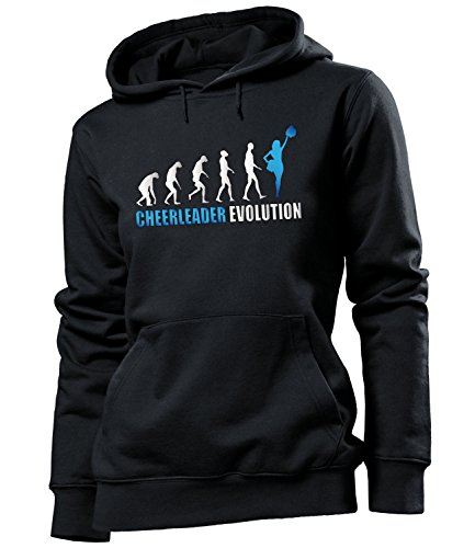 love-all-my-shirts Cheerleader Evolution 595 Tanzsport Frauen Damen Hoodie Pulli Kapuzen Pullover Kapuzenpullover Sportbekleidung Fanartikel Schwarz Aufdruck Blau S