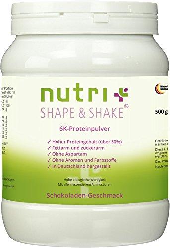 Eiweißpulver Schokolade 500g - Nutri-Plus Shape & Shake Proteinpulver ohne Aspartam - Mit Whey & Casein - Inkl. Dosierlöffel - 6k-Protein mit Kakao