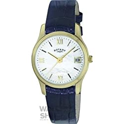 LS02368/41 Ladies Gold Plated and Black Leather Strap Rotary Watch