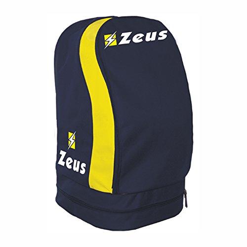 Zeus ZAINO ULYSSE BORSA A SPALLA CALCIO CALCETTO BASKET PISCINA TENNIS SPORT 33 X 30 X 52 cm (BLU-GIALLO)