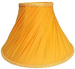 RDC 10 Round Slanting Pleated Yellow with Lace Border Lamp Shade for Table Lamp