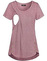 VECDY Ropa Premama Verano, Botón Mujeres Embarazadas Moda del Color Sólido Que Amamanta Camisa Chaleco