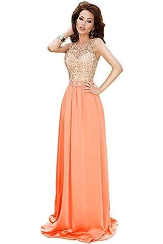 Élégant Mesdames orange et crème Style Antique en dentelle robe de soirée cocktail party Dance Club Wear Taille S 8–10EU 36–38