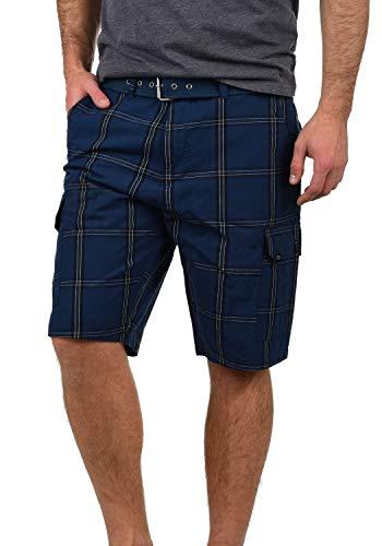 Blau Karierte Cargo-shorts (Blend Hans Herren Cargo Shorts Bermuda Kurze Hose Mit Gürtel Aus 100% Baumwolle Regular Fit, Größe:L, Farbe:Navy (70230))