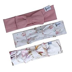 3er Set Haarbänder – Baumwollblüte, Frühling, Altrose