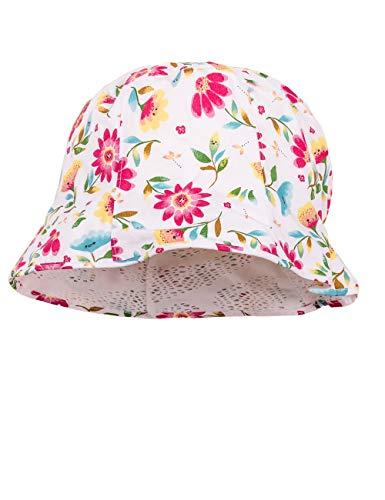 maximo Baby-Mädchen Hut, Reversible Sonnenhut, Mehrfarbig (DarkPink-Grün-Gelb-Blumen 37), 49 - Reversible Hut