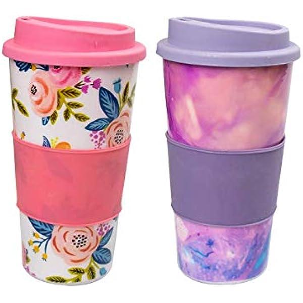 Invero Pack of 2 Colourful Decorative Insulated Tea, Coffee