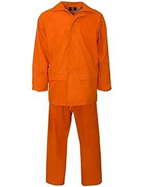 Conjunto de trabajo de lluvia MyShoeStore®, unisex, de alta visibilidad, con capucha, con chaqueta y pantalones...
