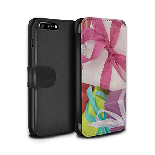 Stuff4 Coque/Etui/Housse Cuir PU Case/Cover pour Apple iPhone 7 Plus / Cone Pin/Conifère Design / Photo de Noël Collection Cadeau Rose