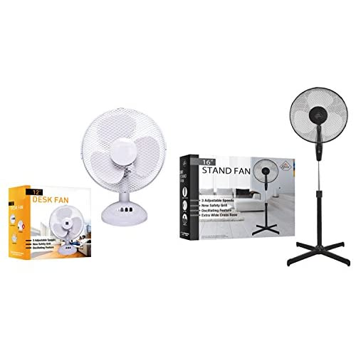 """41mDCE85zhL. SS500  - 9"""" HOME OFFICE AIR COOLING FAN DESK FLOOR OSCILLATING ELECTRIC PEDESTAL BUTTON CONTROLS 9"""" WHITE COLOR FAN"""