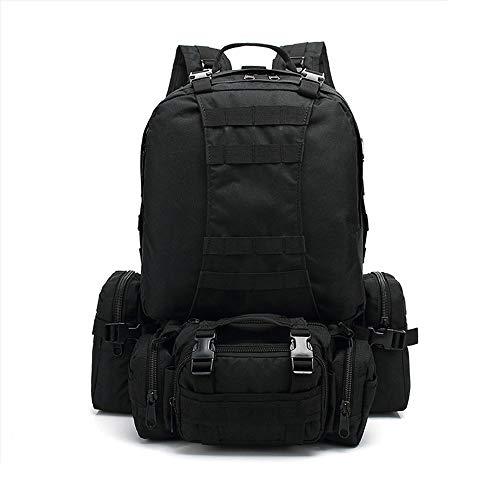 Lwyj borsa multifunzionale combinazione camouflage impermeabile tattico militare zaino grande capacità zaino da viaggio borsa da viaggio alpinismo escursionismo militare outdoor zaino(black)