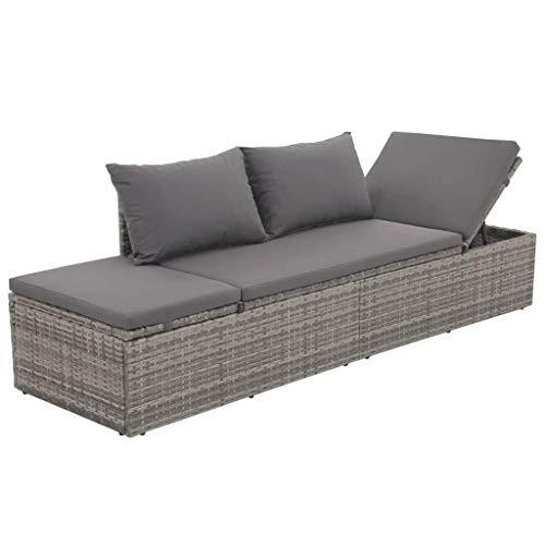 Festnight- Garten-Sonnenliege aus Poly Rattan   Verstellbar Gartenbank Lounge Sofa Liege mit Sitzpolster   Gartenm?Bel 195 x 60 x 60 cm Grau und Dunkelgrau -