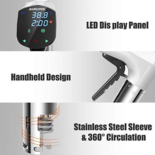 Quimat Sous Vide Präzisionskocher Tauchzirkulator Genaue Temperatur Digital Timer und Edelstahl mit einem Set aus BPA-freien Vakuum Zip-Beuteln & Rezepten (Weiß) - 3
