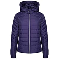 Aviator London Ladies Womens Summer Quilted Bubble Padded Hooded Zip Up Puffer Jacket Collar (Navy-Hooded, Small)