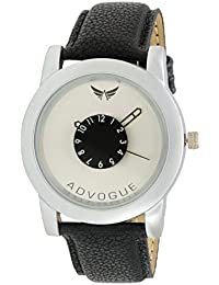 Advogue Analogue Dial Silvers Black Leather Strap Watch For Boy And Men