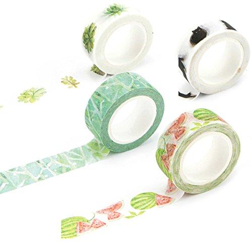 Washi-Tape Set - Crafty Rolls Abdeckband, Zum Dekorieren oder Basteln, DIY, Klebeband, Tape, 15 x 7mm, Blumen/Blätter Garten (Collection Travel Roll)