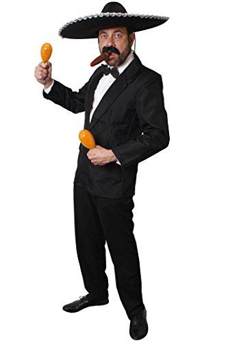 SPANISCHES RUMBA ODER SALSA MARIACIE MÄNNER KOSTÜM =MIT 2 MARACAS =DIE PERFEKTE VERKLEIDUNG FÜR IHN = AN KARNEVAL FASCHING HALLOWEEN ODER SPANISCHER THEMEN PARTY = BEINHALTET = EINEN SCHWARZEN HOSENANZUG (Kostüm Mariachi Halloween Männer)