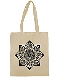 Lona de algodón bolsa de la compra con Beautiful Black And White Mandala Illustration impresión.