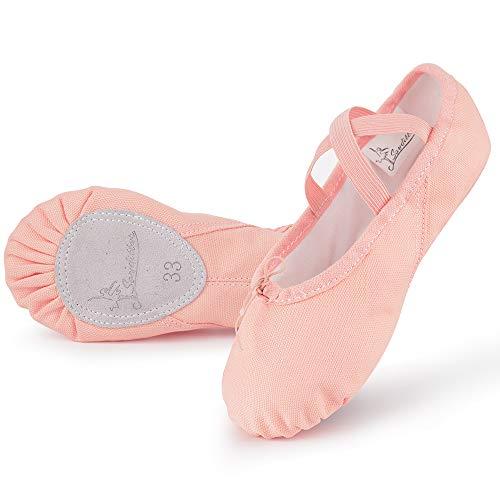 Soudittur Zapatillas Media Punta de Ballet - Calzado de Danza para Niña y Mujer Adultos Rosa Suela...