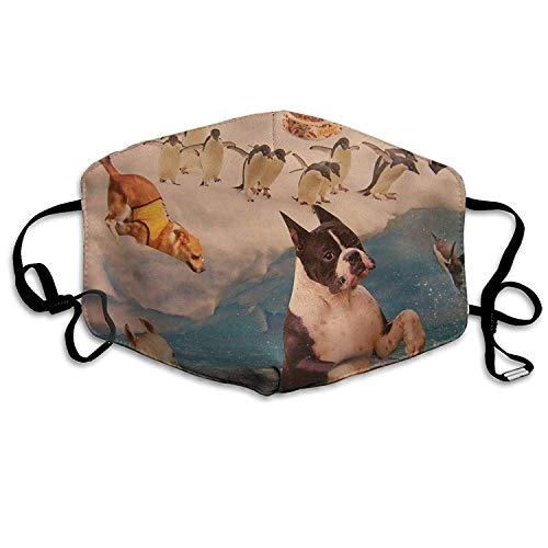 Vbnbvn Mundmaske,Wiederverwendbar Anti Staub Schutzhülle, Dust Mask Funny Penguin and Dogs Outdoor Mouth Mask Anti Dust Mouth Mask for Man Woman -