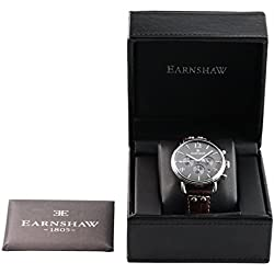 Thomas Earnshaw Men's Investigator Quartz Watch with Grey Dial Analogue Display and Brown Leather Strap ES-8001-04