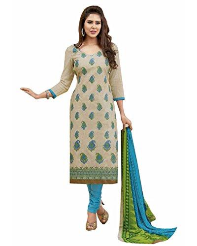 Manmandir Cotton Silk Dress Material / Salwar Suit for Women (Manjulika_506_Beige)