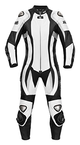 XLS Daytona Lady, tuta da moto intera, da donna, in pelle, in bianco e nero