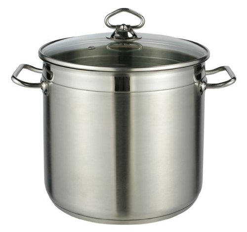 Edelstahl Suppentopf Liter 10 (Kochtopf mit Glasdeckel, Suppentopf, Topf aus Edelstahl 10 Liter 24x22 cm)