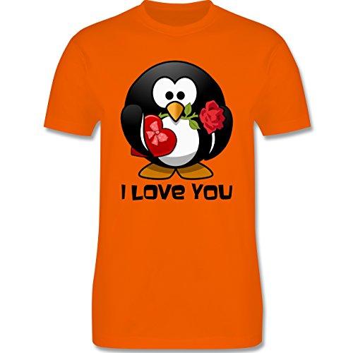 Valentinstag - Pinguin Rose Pralinen Geschenk - Herren Premium T-Shirt Orange