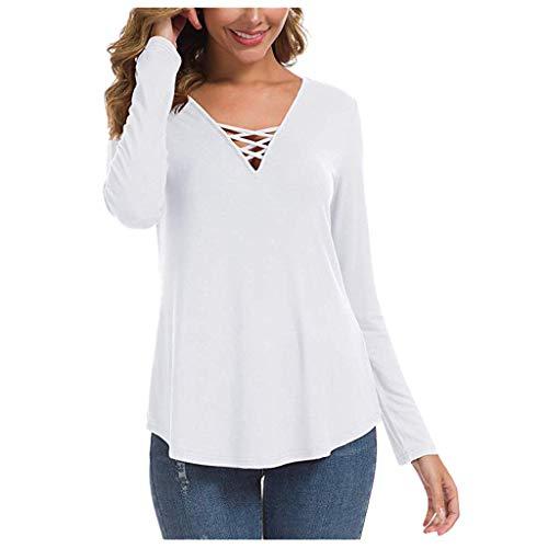 TOPKEAL Langarmshirt Damen Herbst Langarm V-Ausschnitt Sweatshirt Casual Einfarbig T-Shirt Lose Bluse Oberteil Top (Weiß B, S)