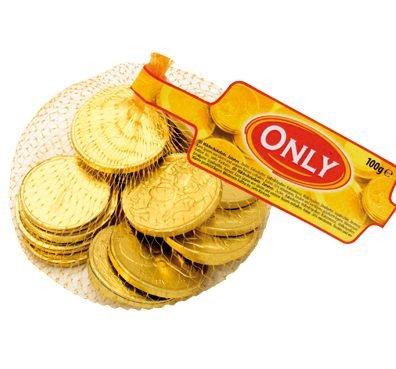 Fein schmelzende Euro Schokolade Goldmünzen, im 100g Netz von Only (Schokolade Schokolade-münzen)