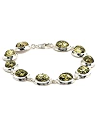 Green Amber Sterling Silver Simple Collection Oval Bracelet 18.5cm
