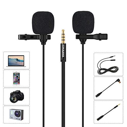 Dual Lavalier Ansteckmikrofon, Szeshineco 3,5mm Omnidirektionaler Kondensator Clip-on Mic Set für Smartphone, Laptop, PC, Kamera, GoPro und mehr -