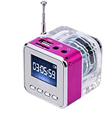 Mini Digital Speaker Music Player with FM Alarm Clock TF Slot USB Audio-in for Cellphone PC (Rosy)