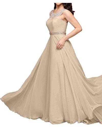 La_mia Braut Rosa Chiffon Aermellos Abendkleider Partykleider Brautjungfernkleider Bodenlang A-linie Champagner