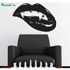 Aya611 Sex New Vinyl Wandtattoo Dekoration Für Mädchen Schlafzimmer Aufkleber Beißen Vampire Lips Removable Art Murals Einzigartiges Geschenk 86x56 cm