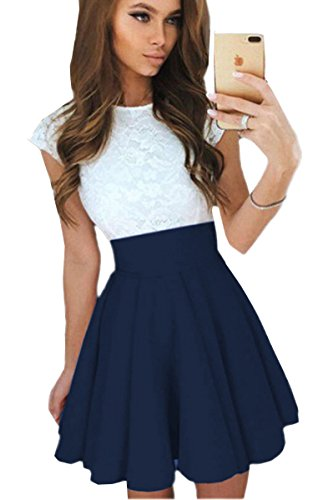 ECOWISH Sommerkleid Spitze Kleid Damen Cocktailkleid Festlich Partykleid A Linie Ärmellos Knielang Navy Blau XL