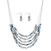 MOOD By Jon Richard Blue beaded multi row necklace and earring set