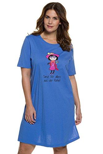 Ulla Popken Femme Grandes tailles Coton Lingerie Vêtement de Nuit Pyjama Robes Nuisette 708949 bleu outremer