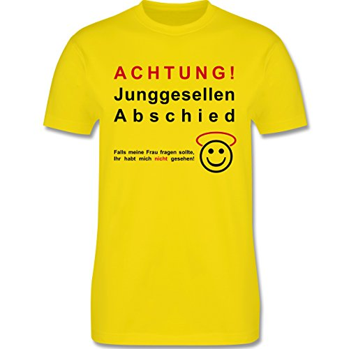 JGA Junggesellenabschied - Achtung Junggesellenabschied - Herren Premium T-Shirt Lemon Gelb