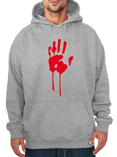 Kostüm Mann Dead - clothinx Herren Kapuzenpullover Halloween Bluthand Grau Größe 3XL