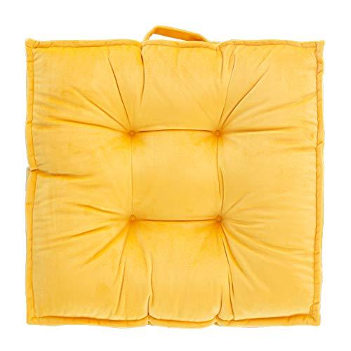 KKLTDI Dicke Höhung Quadrat Sitzpolster, Anti-rutsch Tragbar Baumwolle Sitzkissen Weich Entlastung Von Bandscheiben Und Gegen Rückenschmerzen Tatami Stuhlkissen-gelb 60x60x8cm(24x24x3) - Gelbe Quadrat Kissen