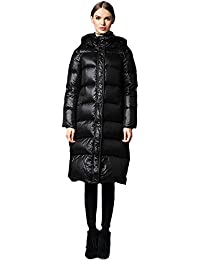 Queenshiny Long to knee Women's Down Coat duck down filling winter jacket uk size from 8--16 black hooded