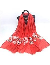 9c6f66a4aa6a ZXXWJ Grande Taille Longue Écharpe Châle Viscose Brodé Floral Japonais  Ethniques Foulards Bandana Hijab pour Les