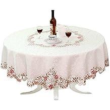 ShineMoon Home Textiles Bordado Hueco Corte manteles, Rosa Flores Elegante Mesa de Comedor Redonda Covers